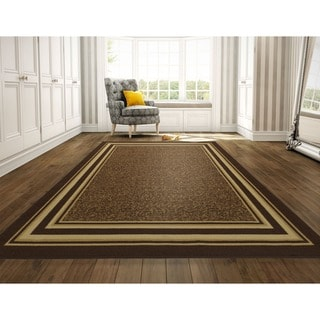 Ottomanson Ottohome Collection Chocolate Contemporary Bordered Design Area Rug (8'2 x 9'10)