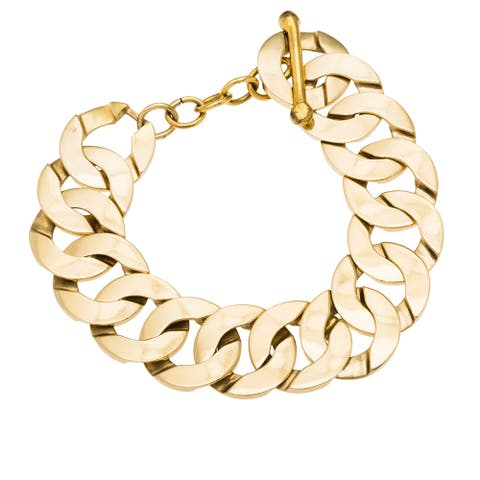 14k Yellow Gold Giant Curb Chain Estate Bracelet