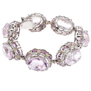 18k White Gold Ruby Giant Kunzite and 3ct TDW Diamond Estate Bracelet (G-H, VS1-VS2)