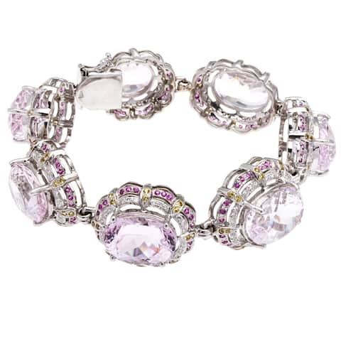 18k White Gold Ruby Giant Kunzite 3ct TDW Diamond Estate Bracelet