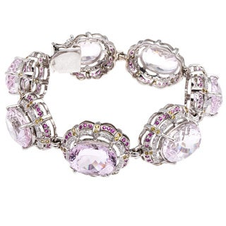 18k White Gold Ruby Giant Kunzite and 3ct TDW Diamond Estate Bracelet (G-H, VS1-VS2)