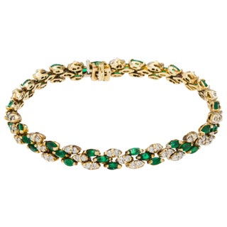 14k Yellow Gold 1 1/2ct TDW Diamond and Emerald Link Estate Bracelet (G-H, SI1-SI2)