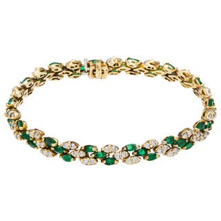 14k Yellow Gold 1 1/2ct TDW Diamond and Emerald Link Estate Bracelet (G-H, SI1-SI2)|https://ak1.ostkcdn.com/images/products/10131537/P17268710.jpg?impolicy=medium