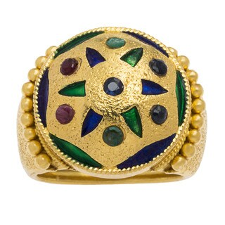 22k Yellow Gold Multi-colored Enamel Estate Dome Ring (Size 5.75)
