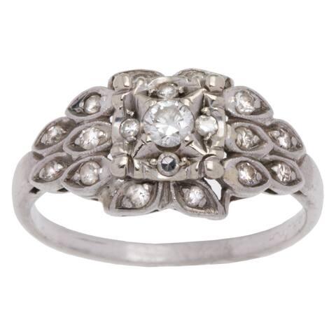 Platinum 1/4ct TDW Antique Diamond Estate Ring (H-I, VS1-VS2) (Size 6.5)