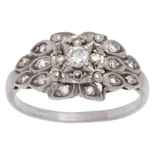 Platinum 1/4ct TDW Antique Diamond Estate Ring (H-I, VS1-VS2) (Size 6.5)|https://ak1.ostkcdn.com/images/products/10131560/P17268807.jpg?impolicy=medium