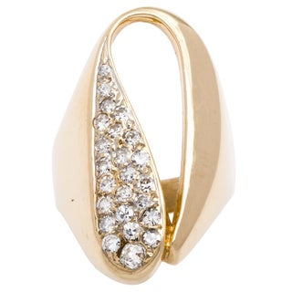 14k Yellow Gold 1/2ct TDW Pave Diamond Freeform Estate Ring (H-I, SI1-SI2)