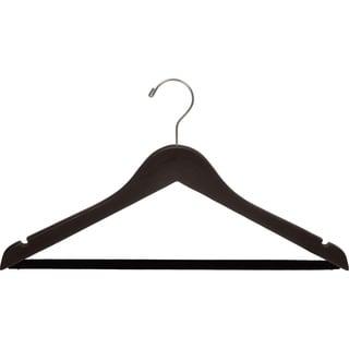Espresso Finish Suit Hanger with Black Velvet Bar (Box of 100)