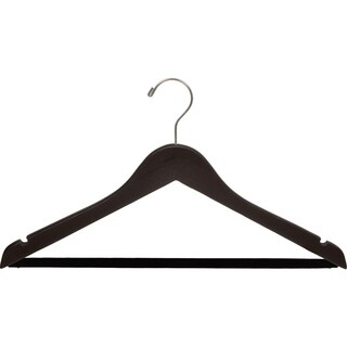 Espresso Finish Suit Hanger with Black Velvet Non-Slip Bar, Box of 100 Flat Hangers with Notches and Swivel Hook