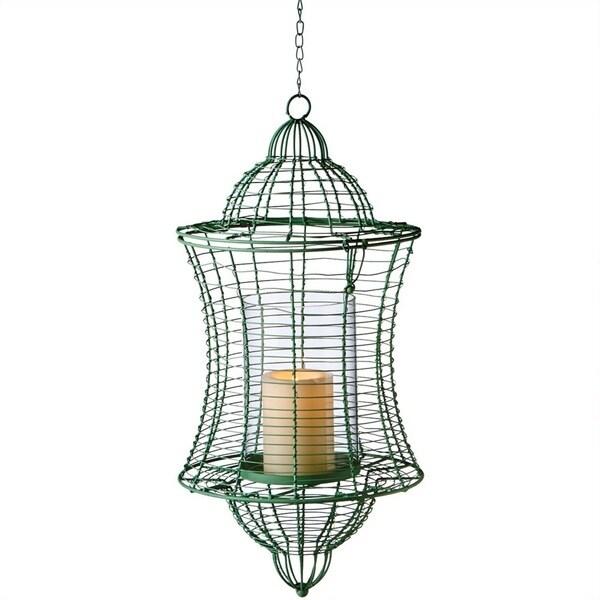 Midwest CBK Large Green Pillar Wire Candle Lantern