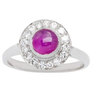 Platinum and 14k White Gold 1/4ct TDW Star Ruby Estate Halo Ring (G-H, VS1-VS2) (Size 5.25)
