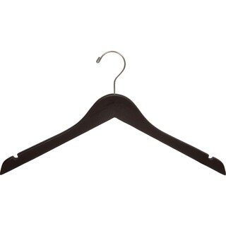 Espresso Finish Top Hanger with Notches and Brushed Chrome Hook (Box of 100)