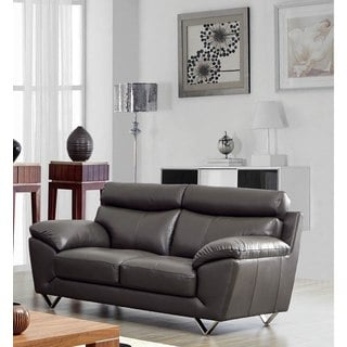 Luca Home Contemporary Grey Italian Leather Loveseat