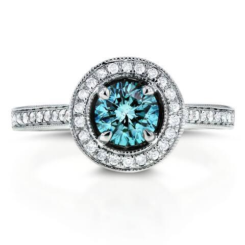 Annello by Kobelli 14k White Gold 1 ct TDW Fancy Blue Halo Diamond Ring