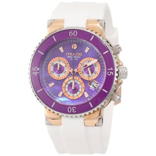 Mulco MW3-70604-015 Women's Blue Marine Chronograph Purple Mother OF Pearl Dial White Silicone