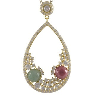 Luxiro Goldtone Sterling Silver Semi-precious Gemstone and Cubic Zirconia Necklace