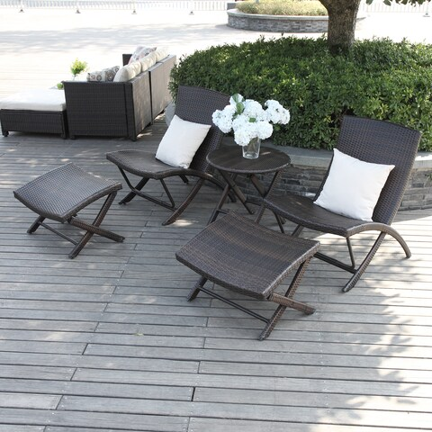 Havenside Home Plymouth Brown 5-piece Chair/ Table Resin Rattan Set