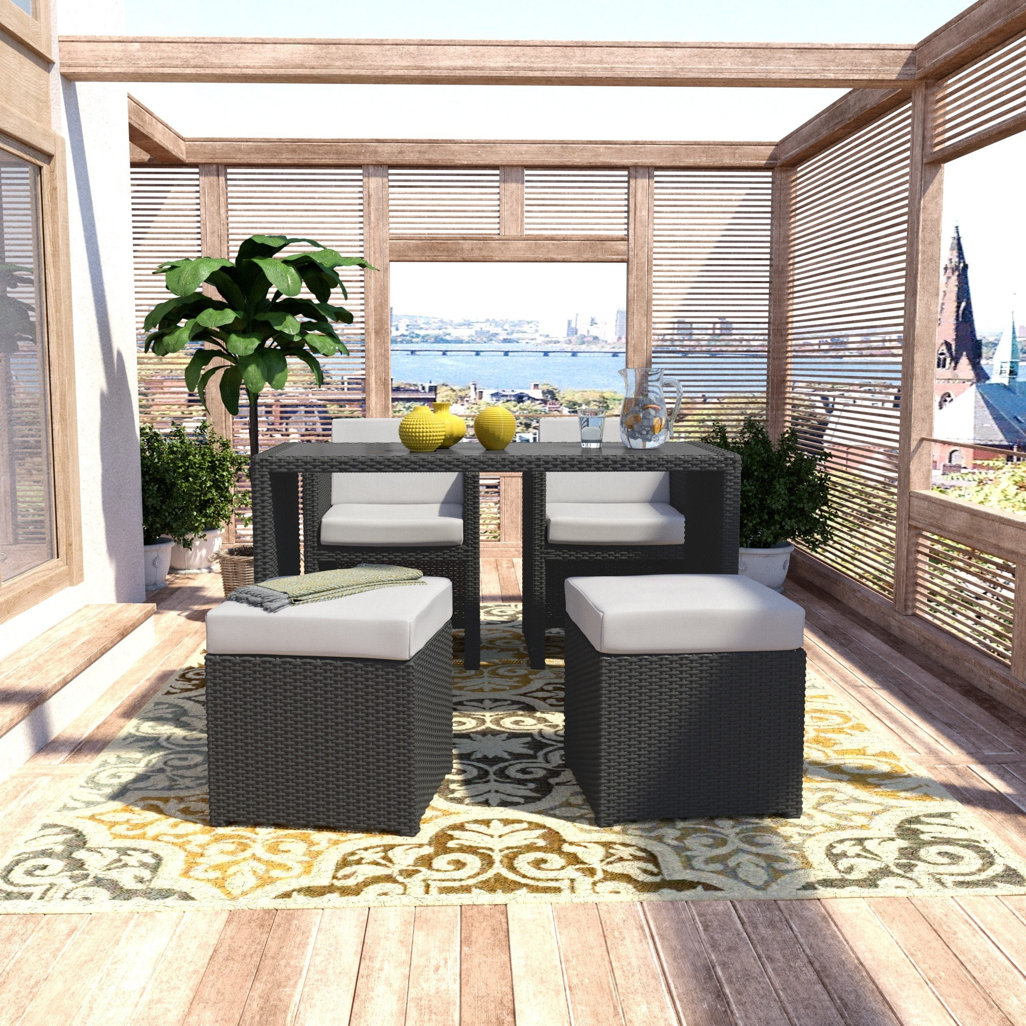 Handy Living Aldrich Grey Resin Rattan 5-piece Dining and...