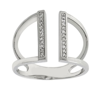 Eternally Haute Rhodium plated Pave Cubic Zirconia Parallel Bar Ring