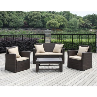 Havenside Home Stillwater Brown 4-piece Indoor/ Outdoor Resin Rattan Set