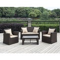 Handy Living Aldrich Brown 4-piece Indoor/ Outdoor Resin RattanSet