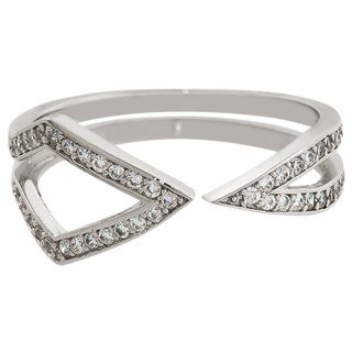 Eternally Haute Rhodium plated Cubic Zirconia Pave Mid-point Ring
