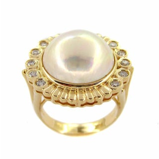 Kabella 14k Yellow Gold Mabe Pearl 2/5ct TDW Diamonds Vintage Ring (G-H, I1-I2) (15 mm)