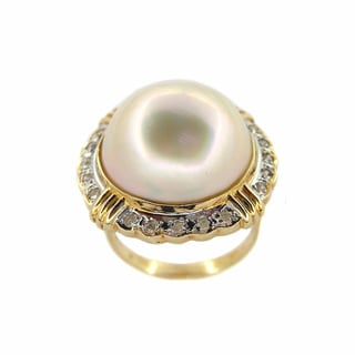 Kabella 14k Yellow Gold Mabe Pearl 1/4ct TDW Diamond Ring (G-H, I1-I2)(17 mm)
