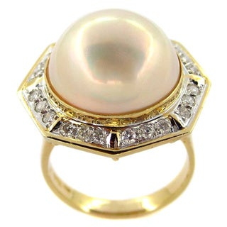 Kabella 14k Yellow Gold Mabe Pearl 3/4ct TDW Diamond Ring (G-H, I1-I2)(14 mm)