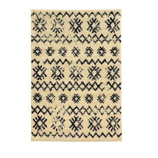 Linon Moroccan Mekenes Ivory/Black Rug (5' x 7')