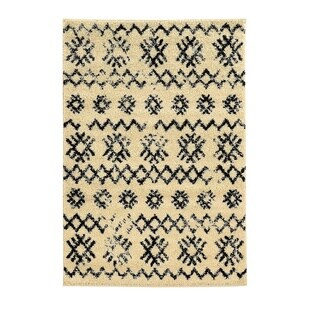 Linon Moroccan Mekenes Ivory/Black Rug (3' x 5')