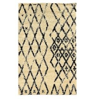 Linon Moroccan Marrakes Ivory/Black Rug (3' x 5')