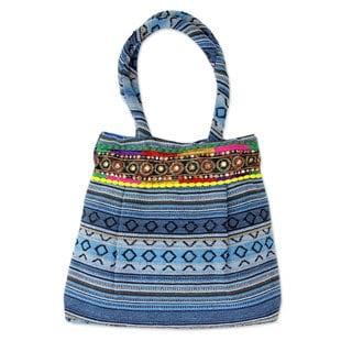 Handmade Cotton 'Sky Blue Gujarat Glam' Shoulder Bag (India)