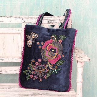 Applique 'Butterfly Garden' Shoulder Bag (India)