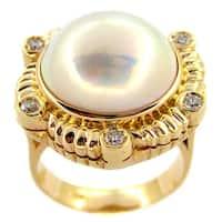 Kabella 14k Yellow Gold Mabe Pearl Diamond Vintage Ring (15mm)