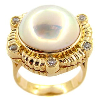 Kabella 14k Yellow Gold Mabe Pearl Diamond Vintage Ring (15mm)