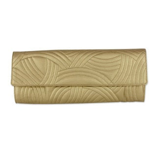 Handcrafted 'Golden Waves' Quilted Clutch (India)