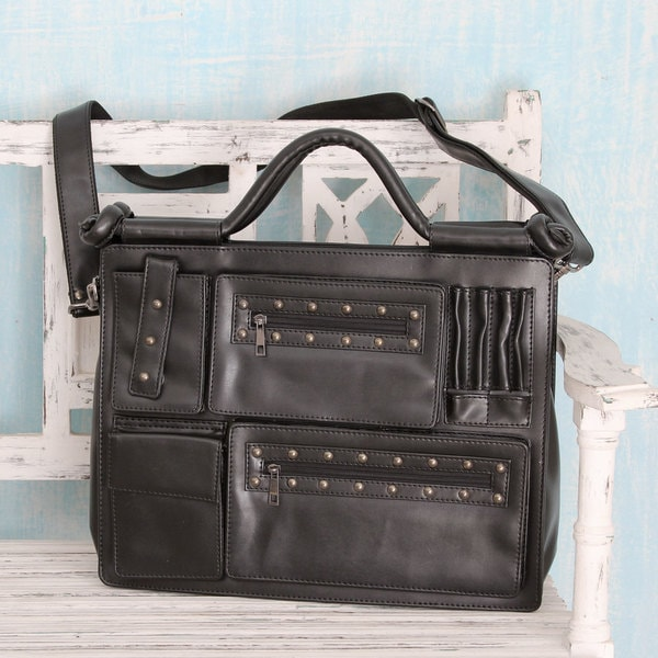 20b765abff Shop Handmade Multi-pocket  Style Statement in Black  Laptop Bag ...