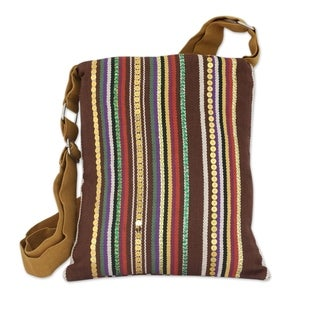 Handmade Cotton 'Earthly Beauty' Cross-body Shoulder Bag (India)