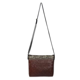 Sedge Cotton 'Siam Elephants on Brown' Shoulder Bag (Thailand)