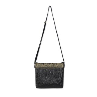 Sedge Cotton 'Siam Elephants on Black' Shoulder Bag (Thailand)