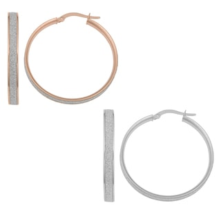 Fremada 14k White or Rose Gold Glittered Hoop Earrings