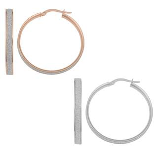 Fremada 14k White or Rose Gold Glittered Hoop Earrings|https://ak1.ostkcdn.com/images/products/10131857/P17269009.jpg?impolicy=medium