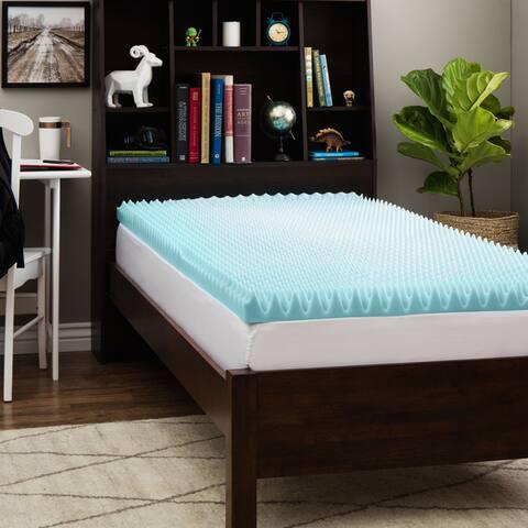 Slumber Solutions Dorm 3-inch Twin XL-size Textured Gel Memory Foam Mattress Topper