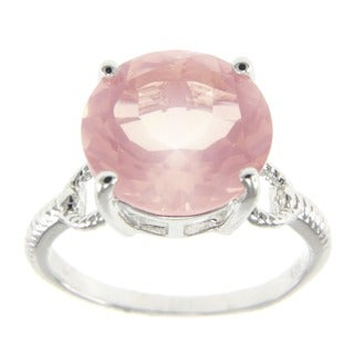Sterling Silver Rose Quartz Solitaire Ring - Pink