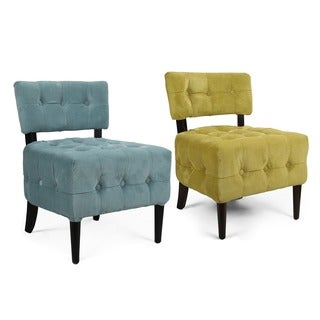 Adeco Side/ Living room Velvet Single Sofa with Solid wood legs ,Green, Tufted, European Style