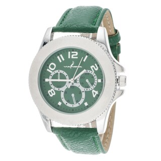 Via Nova Women's Silver Case and Green Leather Strap and Dial Watch