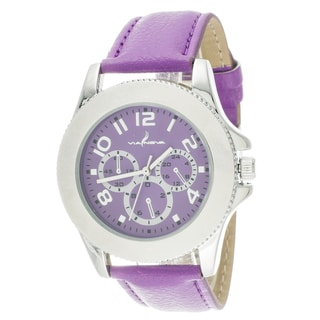 Via Nova Women's Silver Case and Purple Leather Strap and Dial Watch
