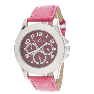 Via Nova Women's Silver Case and Red Leather Strap and Dial Watch