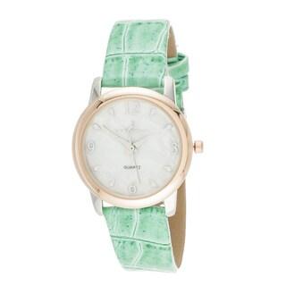 Via Nova Boyfriend Women's Rose Case and Green Leather Strap Watch